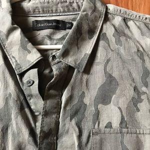 Calvin Klein Mens Black Gray Camo Button Shirt XXL